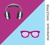 headphones and pink glasses.... | Shutterstock .eps vector #544137958