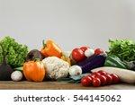 fresh vegetables on wooden... | Shutterstock . vector #544145062