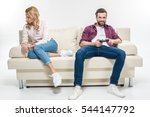 offended woman sitting on couch ... | Shutterstock . vector #544147792