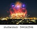 beautiful firework display for... | Shutterstock . vector #544162546