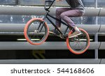 cyclist jump on bicycle closeup ... | Shutterstock . vector #544168606