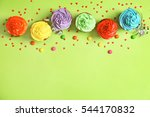 tasty cupcakes and sweet balls... | Shutterstock . vector #544170832