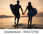 silhouette of a couple with... | Shutterstock . vector #544171702