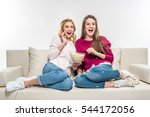 laughing female friends sitting ...   Shutterstock . vector #544172056