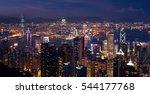 sunset over victoria harbor ... | Shutterstock . vector #544177768