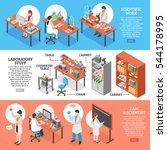 three scientists laboratory... | Shutterstock .eps vector #544178995