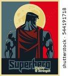 superhero back on moonlight.... | Shutterstock .eps vector #544191718