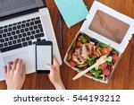 hands working on laptop... | Shutterstock . vector #544193212