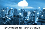 night cityscape and internet... | Shutterstock . vector #544194526