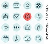 set of 16 holiday icons.... | Shutterstock .eps vector #544204372