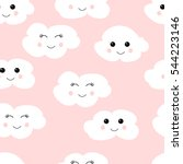 Stock vector seamless pattern with cute clouds vector eps white clouds on pink background 544223146