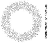 floral zentangle doodles wreath ... | Shutterstock . vector #544226938