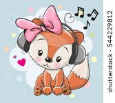 cute cartoon fox girl with...   Shutterstock .eps vector #544229812