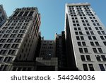 New York City, Manhattan buildings background view - stock photo