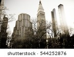 New York City, Manhattan, streets and buildings vintage style photography. - stock photo
