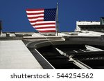 New York City, Manhattan, streets and buildings vintage style photography with United States flag. - stock photo