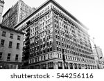 New York City, Manhattan streets and buildings vintage style photography. - stock photo