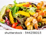 salad with tiger prawns and... | Shutterstock . vector #544258315