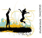jumping people | Shutterstock .eps vector #54425935