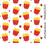 french fries  vector seamless... | Shutterstock .eps vector #544261525