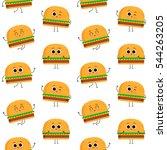 burger  vector seamless pattern ... | Shutterstock .eps vector #544263205