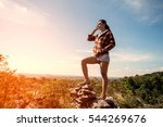 young freedom woman with sun... | Shutterstock . vector #544269676