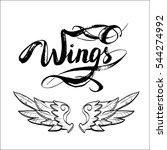 angel wings vector  lettering ... | Shutterstock .eps vector #544274992