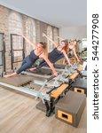 young women exercising on... | Shutterstock . vector #544277908