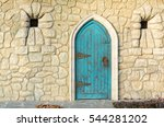 Old Blue Wooden Door From An...