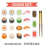 sushi set icons  element for... | Shutterstock .eps vector #544281466
