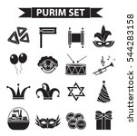 happy purim carnival icons set  ... | Shutterstock .eps vector #544283158