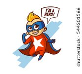 superhero white star boy... | Shutterstock .eps vector #544301566