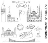 black and white istanbul... | Shutterstock . vector #544308472