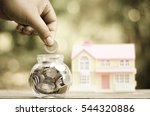 savings money coins for house... | Shutterstock . vector #544320886