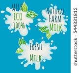 milk set  natural 100  percent  ... | Shutterstock .eps vector #544331812