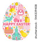 happy easter concept... | Shutterstock .eps vector #544339408