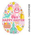 happy easter concept... | Shutterstock .eps vector #544339408