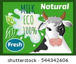 cow's milk  natural 100 ... | Shutterstock .eps vector #544342606