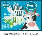 cow with spots  tasty milk ... | Shutterstock .eps vector #544347262