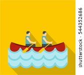canoe with two athletes icon.... | Shutterstock .eps vector #544352686
