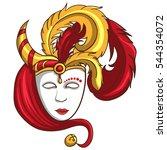 venetian mask with one horn | Shutterstock .eps vector #544354072