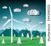 wind mills vector. flat design... | Shutterstock .eps vector #544398325