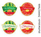 label of fruit watermelon and... | Shutterstock .eps vector #544417666