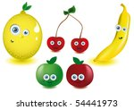 set of vector funny fruits | Shutterstock .eps vector #54441973