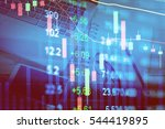 financial data on a monitor.... | Shutterstock . vector #544419895