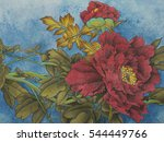 Red Peony Flower On A Blue...