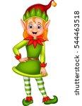 cute green elf posing   | Shutterstock . vector #544463518