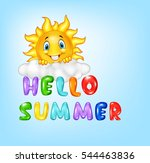 summer background with happy... | Shutterstock .eps vector #544463836