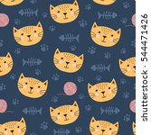 cute seamless pattern with... | Shutterstock .eps vector #544471426