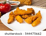 fried chicken strips with soy... | Shutterstock . vector #544475662